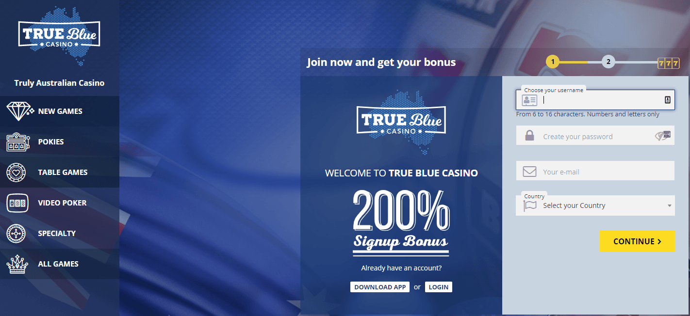 true blue casino lobby